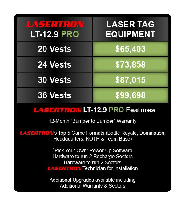 LASERTRON laser tag pricing