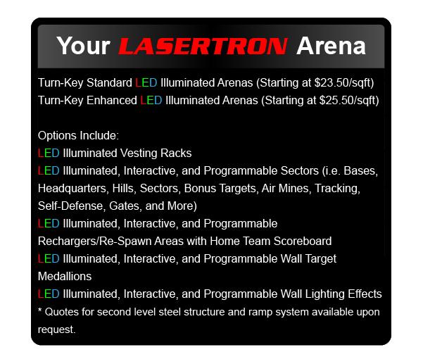 LASERTRON laser tag arena pricing